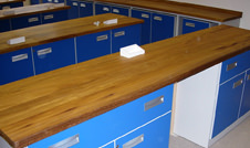 iroko worktops in a science classroom