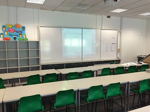 general classroom with teacher wall and projector