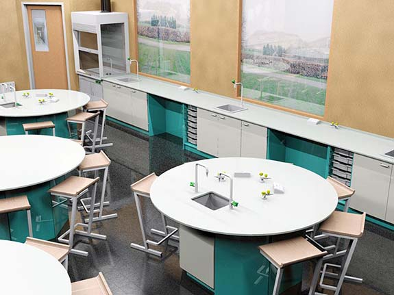 3D science Classroom Design | InterFocus science school furniture