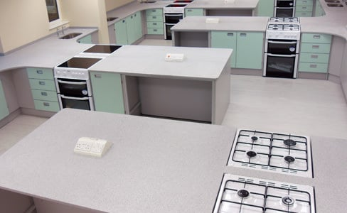 food tech room with velstone worktops