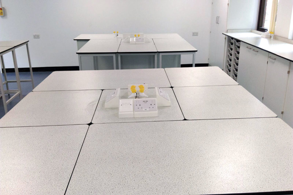 pods and tables in school science classroom