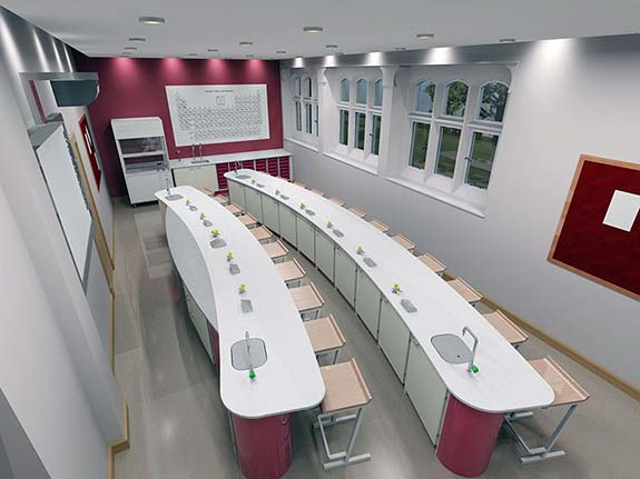 3d design render of science classroom