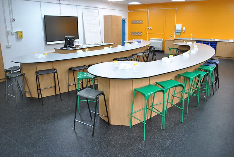 curved wing style classroom