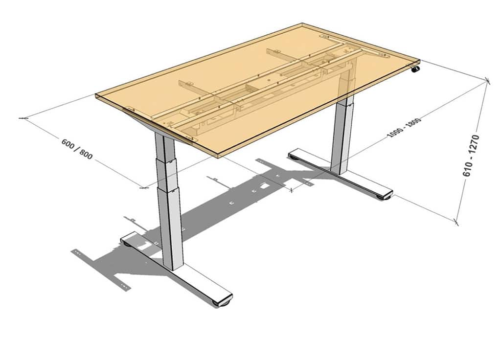 single height adjustable desk solution dimensions