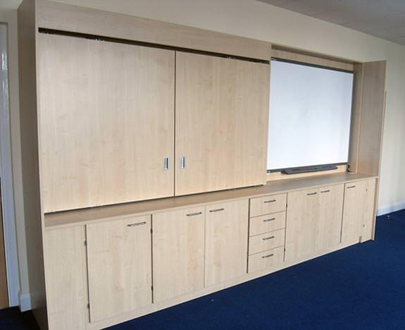 iwall maple finish storage teacher wall