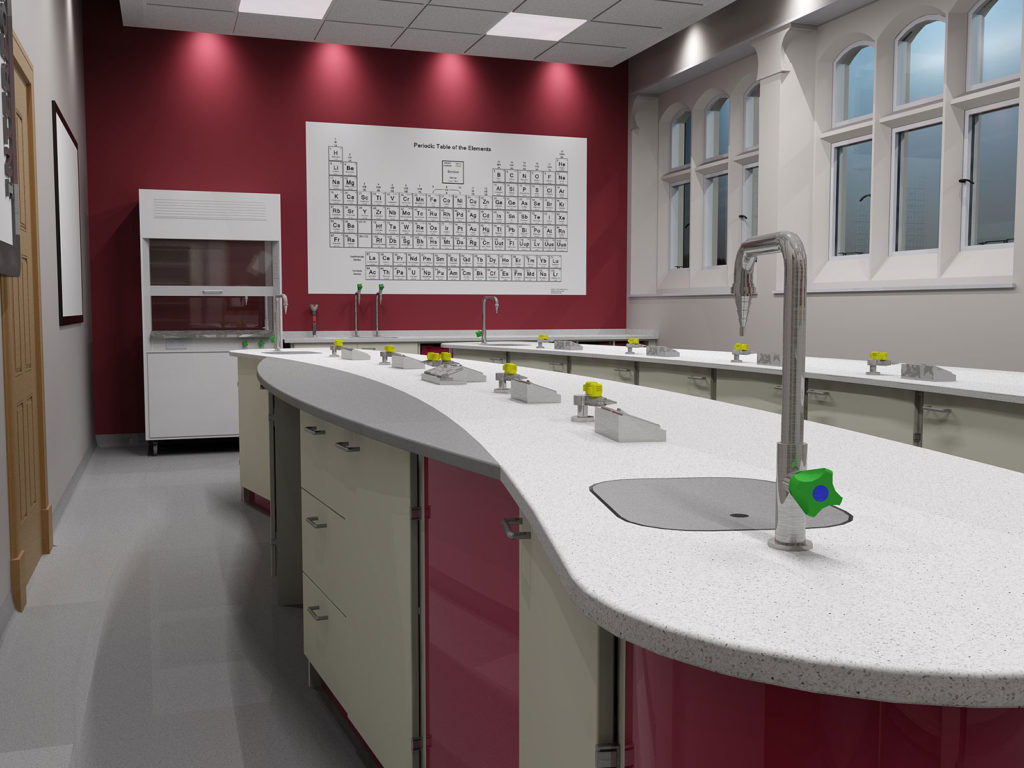 scarisbrick school island science classroom curved tops