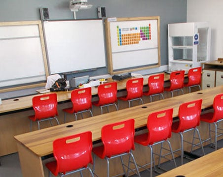 traditional wood worktop classroom