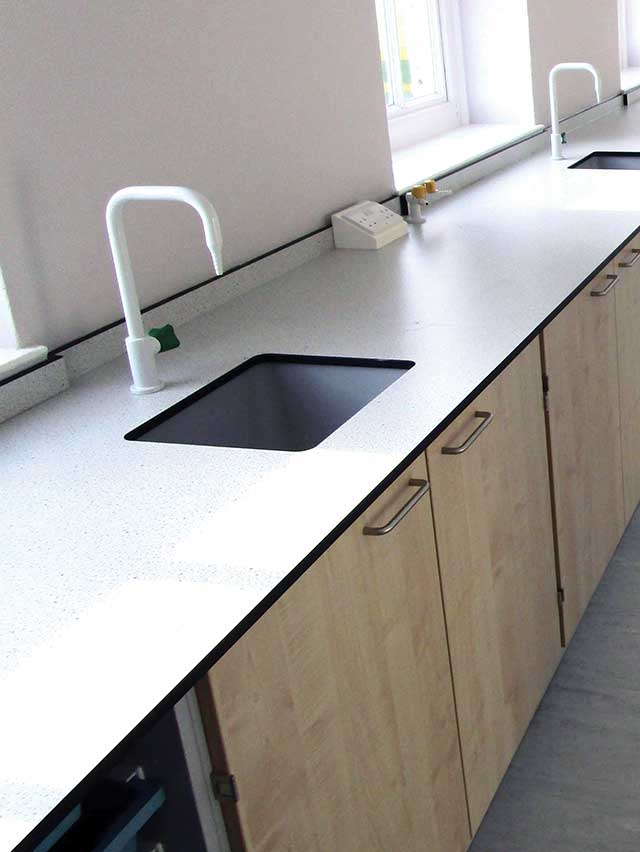 trespa toplab base specked white example worktop